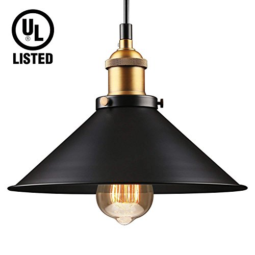(LEONLITE Industrial Hanging Pendant Light, UL-listed, Rustic Farmhouse Style, Matte Black Metal Shade, Retro Vintage Hanging Light, for Dining Room, Bars, Warehouse, E26 Base)