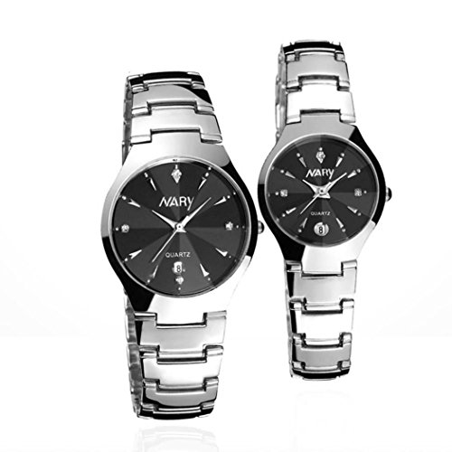 HYTracy His and Hers Couples Watches Set Luxury Single Calendar Quartz Stainless Steel Watchband Gift Watches for Couple (Black)