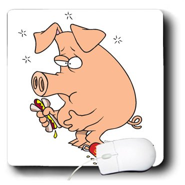 3dRose LLC 8 x 8 x 0.25 Inches Mouse Pad, Funny Stuffed Pig with Belly Ache (mp_104139_1)