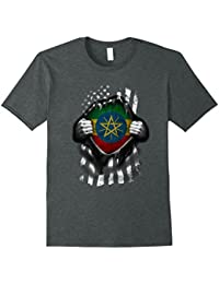 Ethiopian American Flag T Shirt. Ethiopia National Flag Tee