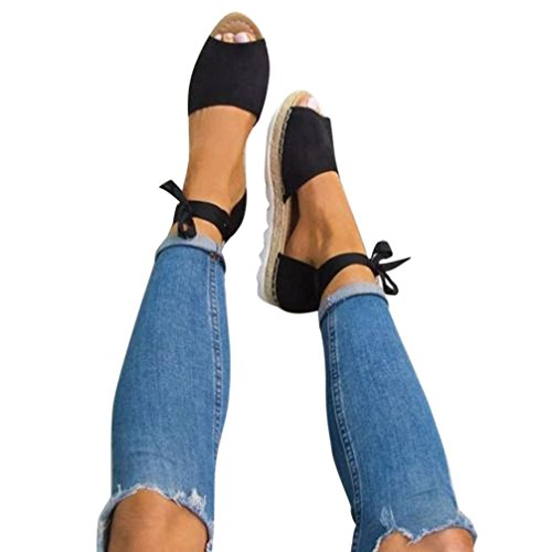 Han Shi Women Wedges Sandals Summer Lace UpChunky Holiday Shoes Riband Slides (Black, 8.5)