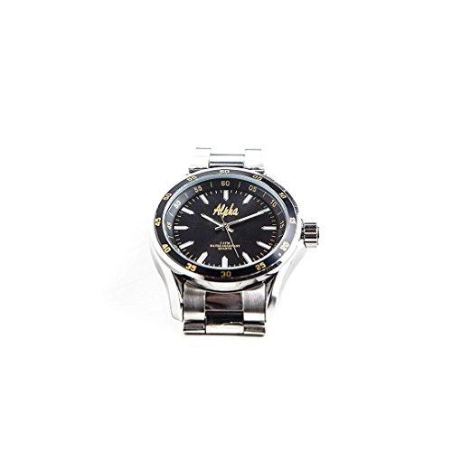 Alpha Silver Watch - Alpha Phi Alpha Fraternity Brilliant Black Color Face Silver Watch