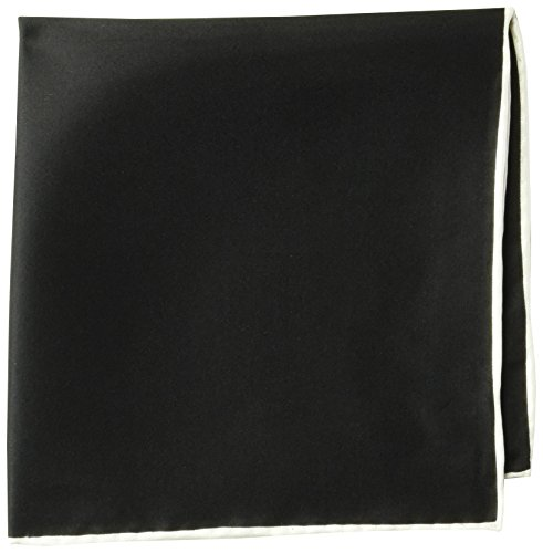(BUTTONED DOWN Men's Classic Silk Hand Rolled Pocket Square, solid black, One Size )
