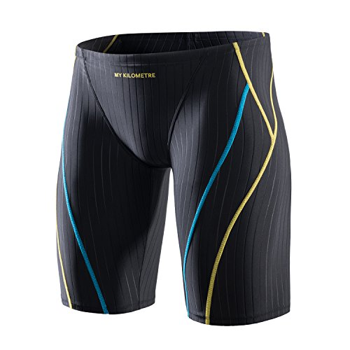MY KILOMETRE Jammer Swimsuit Mens Solid Swim Jammers Endurance Long Racing Training Swimsuit ()