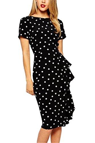 Lymanchi Women's Retro Classic Polka Dot Wear to Work Business Party Dress Black S