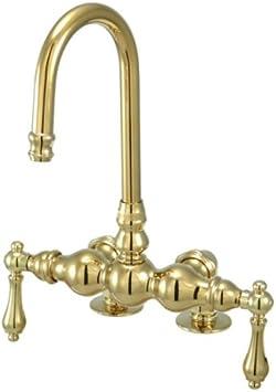 Porcelain Lever Handle Kingston Brass CC74T1 Vintage Leg Tub Filler Polished Chrome