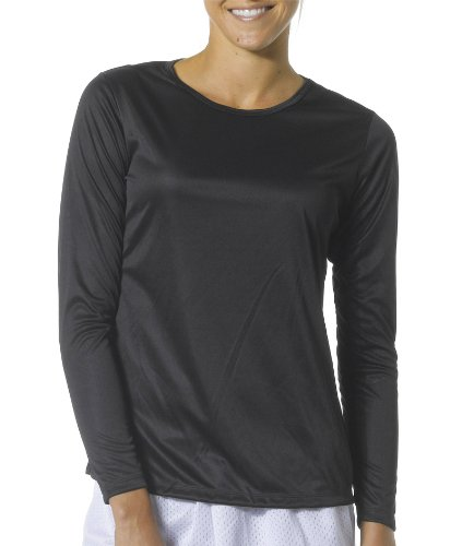 A4 Women's Cooling Performance Crew Long Sleeve T-Shirt, Black, Small Photo #3