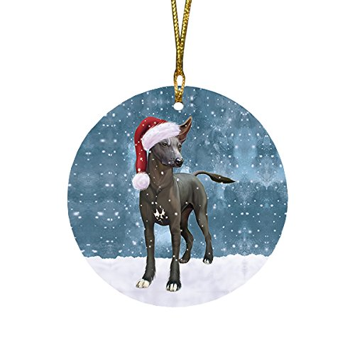Let it Snow Christmas Holiday Xoloitzcuintli Mexican Haireless Dog Wearing Santa Hat Round Ornament D252 by Doggie of the Day