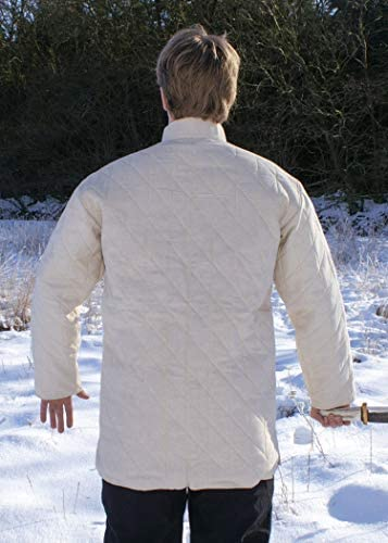 Long pour d/émonstration de Combat m/édi/éval//Jeu de r/ôle Grandeur Nature//Costume Viking Ulfberth Toile//Rembourrage en Laine Gambison Solide avec Brides en Cuir et Boucles