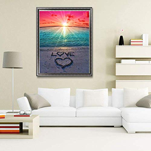 DIY 5D Diamond Painting Beach by Number Kits, Painting Cross Stitch Full Drill Crystal Rhinestone Embroidery Pictures Arts Craft for Home Wall Decor Gift (YCloveZ09-16x12in)