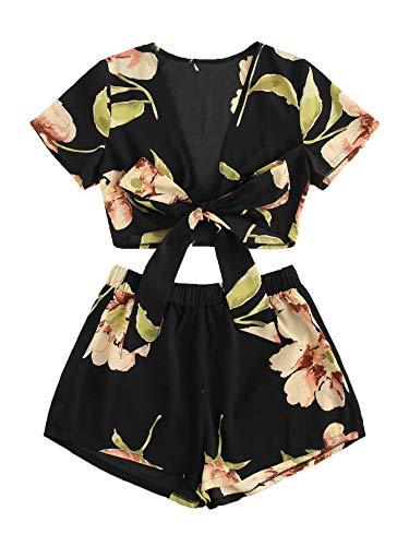 (SweatyRocks Women's 2 Piece Boho Floral Print Crop Cami Top with Shorts Set Black Large)