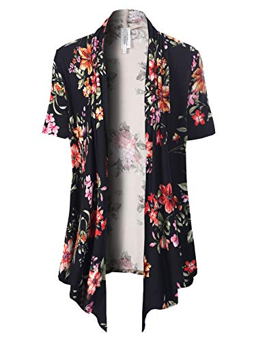 Lace Cardigan Sweater - MixMatchy Women's [Made in USA] Solid Jersey Knit Short Sleeve Open Front Draped Cardigan (S-3XL) Black3 Flower Print M