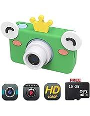 SCRIMEMO Appareil Photo Numérique Caméra Enfant, 1080P HD Antichoc Rechargable avec IPS Ecran LCD 2 Pouces / 8 mégapixels / Carte TF 16G, Jouet Vidéo Caméra pour Enfants