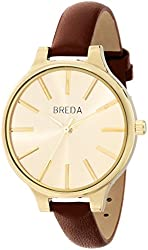 Breda Women's 1650B Gold-Tone Watch with Brown Genuine Leather Band