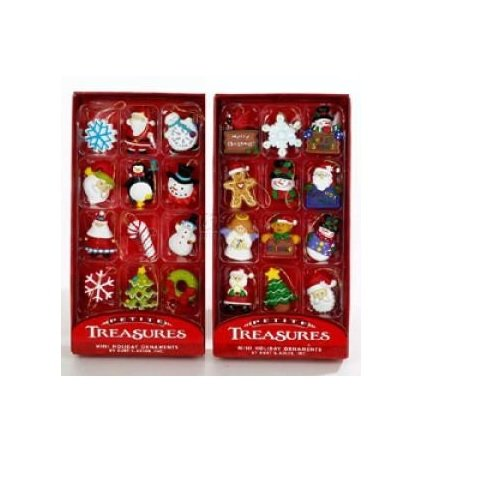 Victorian Christmas Tree Decorations - Kurt Adler Petite Treasures 12-Piece Miniature Ornaments Set, 2 Pack