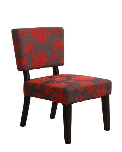 Linon Home Decor Taylor Accent Chair, Red/Gray/Black Flower (Chair Upholstered Floral Red)