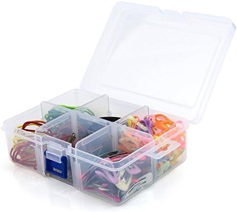 Hangerworld Caja Organizadora de Plástico Transparente con Seis Compartimentos Ajustables y Tapa: Amazon.es: Hogar