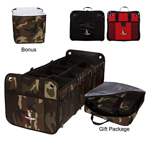 Tuff Viking {Gift Set} 3 Compartment 3-in-1 Convertible Car Trunk Organizer for SUV, Truck, Auto, Minivan, Jeep, Groceries and Home with Tie Down Straps,Insulated Bag and Zipper Bag (Gift Set, Camo)