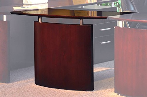 Mayline NBDGRMAH Napoli Right Hand Bridge for use with Credenza or Desk, sold separately, Mahogany Veneer