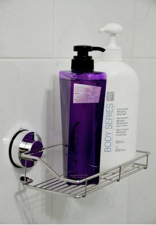 new b s feel stainless steel shower caddy with rotate lock suction cups ebay. Black Bedroom Furniture Sets. Home Design Ideas