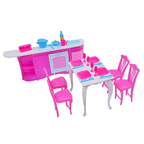 Pretend Kitchen Furniture (Qiyun Furniture Toys Dolls Accessories Pretend Play Furniture Set Toys for Barbie Dolls as Xmas Gifts for Kidsstyle:kitchen)