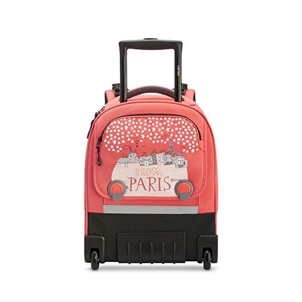 """Desey Paris – Pack to School 2020 – Zaino trolley Wheels con sistema verticale ergonomico, 15.6"""" – Corallo rosa 2 spesavip"""