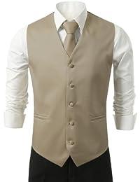 Men's 3 Piece Dress Vest, Necktie and Handkerchief for Suit or Tuxedo