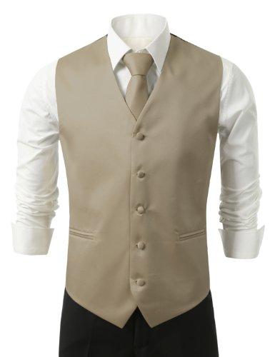 IDARBI Men's 3 Piece Dress Vest, Necktie and Handkerchief for Suit or Tuxedo