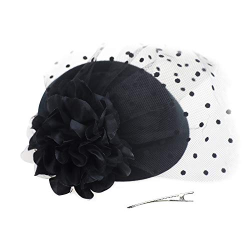 DRESHOW Fascinators Hat Flower Mesh Ribbons Feathers on a Headband and a Clip Tea Party Headwear for Girls and Women (6.5 / Black a)