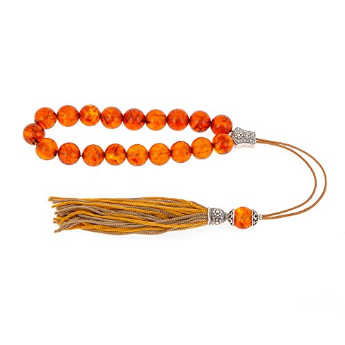 Orange Amber Gemstone, Handmade Greek Worry Beads or Komboloi with Sterling Silver 925 Parts on Pure Silk Cord & Tassel, Length 32cm, 12.6''