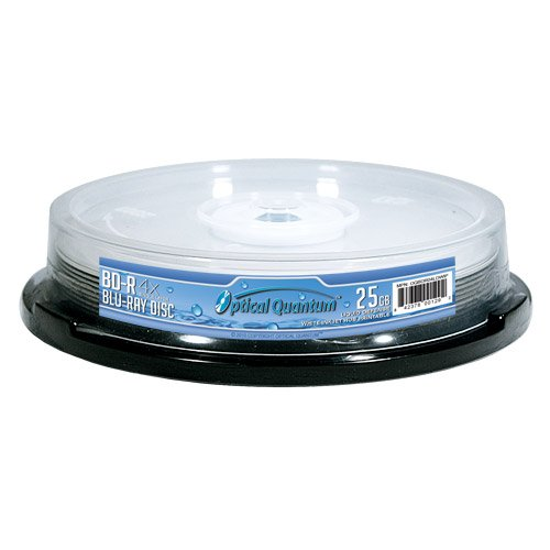 Optical Quantum Best Print 4x 25GB Water-Resistant Liquid-Defense White Inkjet HUB Printable BD-R 10 Pack