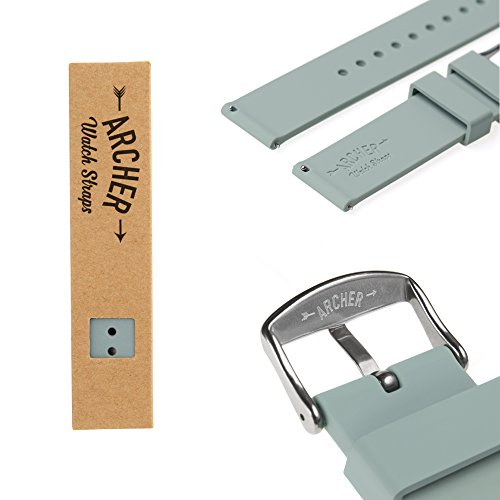 Archer Watch Straps - Silicone Quick Release Soft Rubber Replacement Watch Bands | Multiple Colors, 16mm, 18mm, 20mm, 22mm, 24mm