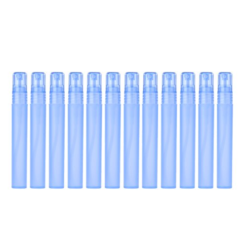 YUFENG 12pcs Frosted Plastic Spray Bottle Portable Cute Perfume Mouthwash Atomizer Cleaning, Travel, Essential Oils, Perfume (Blue)
