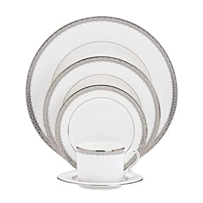 Lenox Lace Couture 5-Piece Dinnerware Set, Service for 1 - 773732 - 5-Piece set includes dinner plate, salad plate, butter plate, cup, and saucer Diameter of dinner plate: 10-3/4-inch, salad plate: 8-inch, butter plate: 6-inch, saucer: 5-3/4-inch; capacity of cup: 6-ounce Crafted of Lenox fine bone china accented with precious platinum - kitchen-tabletop, kitchen-dining-room, dinnerware-sets - 41U8zXuq2fL. SS400  -