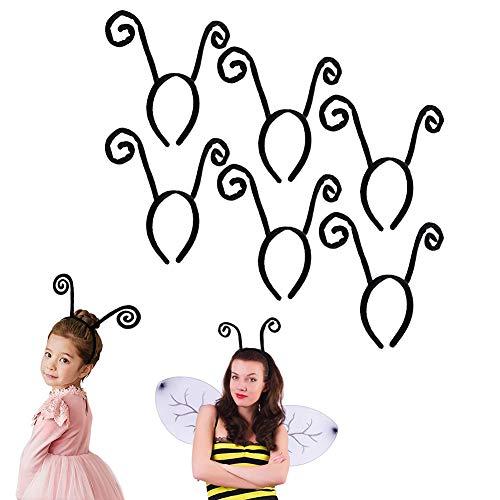 VinBee 6 PACK Antenna Headband Velvet Butterfly Funny Headbands for Halloween Party Costume Accessory ()