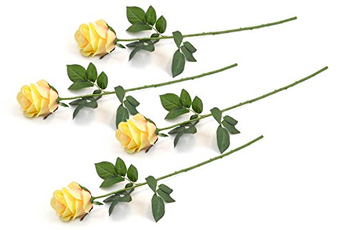 DII 4 Piece Artificial Closed Rose - Natural Silk Flowers For Bridal Bouquet, Home Decoration, DIY, Arts & Crafts Project, Garden, Office Decor, Centerpiece Décor - Yellow