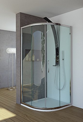 Mampara de ducha inoxidable modelo Clelia-Mate-plata pulido-185-90 ...