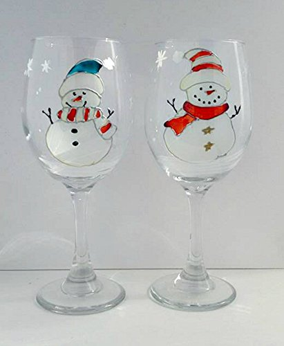 Hand Painted Winter Snowman Wine Glasses Set Of 2