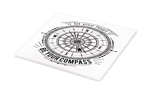 Ambesonne Vintage Nautical Tattoo Cutting Board, Monochrome Compass Drawing Cardinal Directions Pattern, Decorative Tempered Glass Cutting and Serving Board, Large Size, Charcoal Grey and White]()
