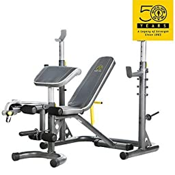 Gold\'s Gym XRS 20 Olympic Workout Bench / Independent Utility Bench can be used separately or moved out of the way allowing you to perform squats and other exercises without obstruction