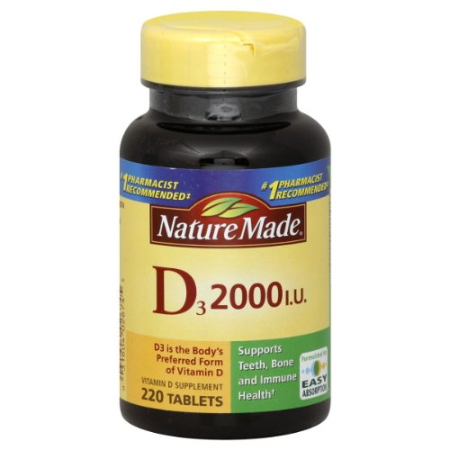 Nature Made Vitamine D3 2000 UI, Taille Valeur, 220-Comte