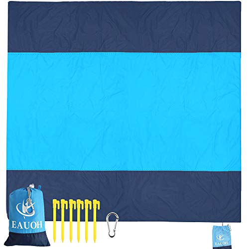 """EAUOH Beach Blanket 82"""" X 79"""" for 8 Adults+ Sand Proof Oversized Waterproof Family Beach Mat/Gear Foldable &Compact Machine Washable Quick Drying,Travel Pouch+6 Stakes and Carabiner (X-Large)"""