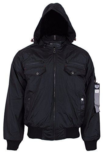 J. Whistler Dumonti Mens Flight Bomber Coat Jacket Insulated Contrast Bib Hooded Black Medium