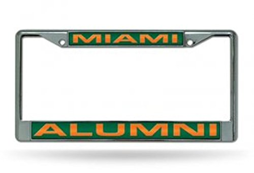 Rico Industries NCAA Miami Hurricanes Laser Cut Inlaid Standard License Plate Frame, Chrome, 6