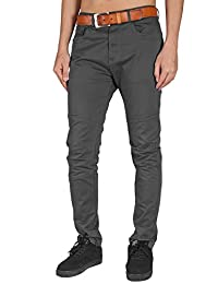 ITALY MORN Men's Flat Front Chino Pants Slim Fit Draping Style Casual Wear