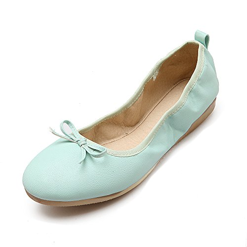 Bowknot flats Blue Sweet JIEEME Flat toe Green Round Single Blue Ballet Ladies shoes Women Spring wRRFHXq