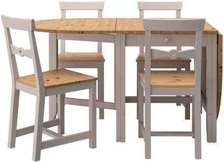Amazon Com Ikea Table And 4 Chairs Light Antique Stain Gray 10202 2238 630 Table Chair Sets
