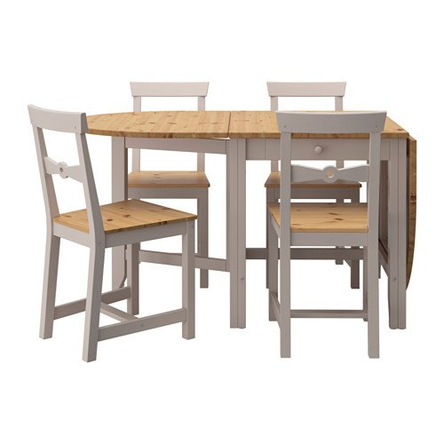 Ikea Table and 4 chairs, light antique stain, gray 10202.2238.630