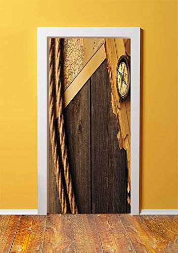 Compass Decor 3D Door Sticker Wall Decals Mural Wallpaper,Antique Brass Compass and Rope Over Old Map on Wooden Timber Table Illustration,DIY Art Home Decor Poster Decoration 30.3x78.12938,Brown Gold (Jet Bow Compass Set)