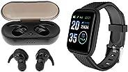 gazechimp Sport Fitness Tracker Monitor de Frequência Cardíaca Inteligente Preto+Sports Y30 Bluetooth 5.0 TWS